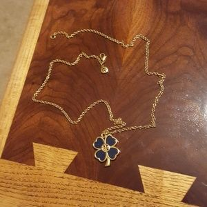 Tory Burch Jewelry - Tory Burch navy & gold clover necklace.